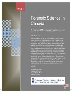 Forensic Science in Canada - Centre for Forensic Science and ...