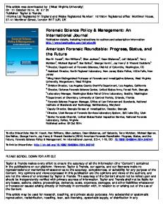 Forensic Science Policy & Management: An International Journal ...