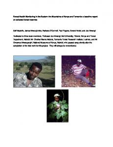 Forest Health Monitoring in the Eastern Arc Mountains of Kenyaand