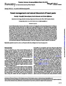 Forest management and natural biocontrol of insect pests