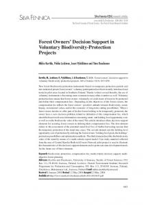 Forest owners' decision support in voluntary