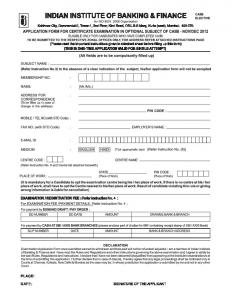 Form - CAIIB - Optional Subject - Indian Institute of Banking & Finance
