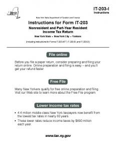 Form IT-203-I:2013:Instructions for From IT-203 Nonresident and ...
