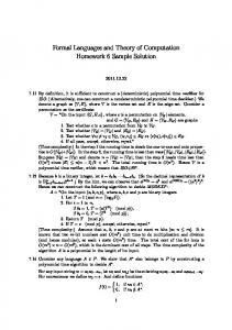 Formal Languages and Theory of Computation Homework 6 Sample ...