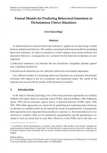 Formal Models for Predicting Behavioral Intentions in Dichotomous ...