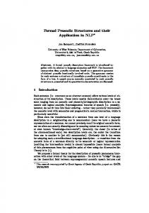 Formal Prosodic Structures and their Application in