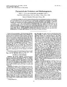 Formaldehyde Oxidation and Methanogenesis - PubMed Central ...