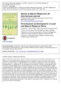 Formalization as Development in Land and Natural