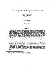 Formalizing Automata Theory I: Finite Automata - CiteSeerX