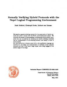 Formally Verifying Hybrid Protocols with the Nuprl Logical ...