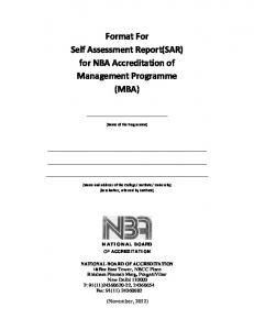 Format For Self Assessment Report(SAR) for NBA Accreditation of ...