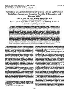 Formate as an Auxiliary Substrate for Glucose-Limited Cultivation of ...