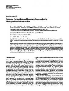 Formate Formation and Formate Conversion in Biological Fuels ...