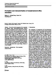 Formation and characterization of mesostructured ... - Springer Link