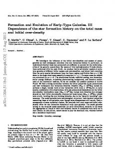 Formation and Evolution of Early-Type Galaxies. III Star formation ...