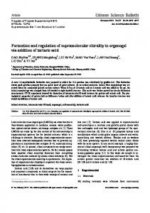 Formation and regulation of supramolecular chirality in ... - Springer Link