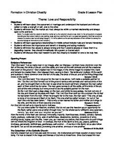 Formation in Christian Chastity Grade 8 Lesson Plan Theme: Love ...