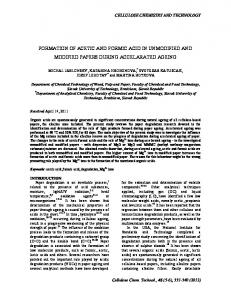 formation of acetic and formic acid in unmodified ... - Semantic Scholar