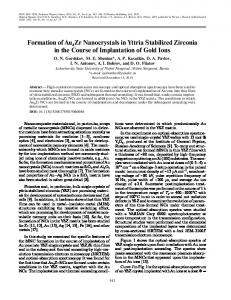 Formation of Au4Zr Nanocrystals in Yttria Stabilized ... - Springer Link