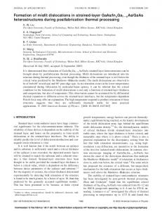 Formation of misfit dislocations in strained-layer ... - Adrian Hopgood