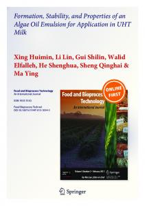 Formation, Stability, and Properties of an Algae Oil Emulsion for