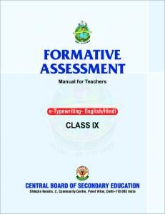 formative assessment class-ix - Central Board of Secondary Education
