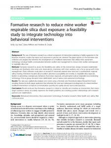 Formative research to reduce mine worker respirable silica dust ... - Core