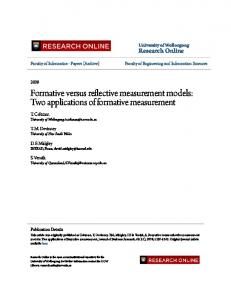 Formative versus reflective measurement models: Two applications of ...