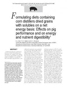 Formulating diets containing corn distillers dried grains with solubles ...
