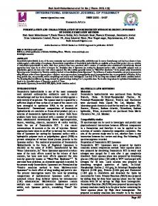 formulation and characterization of doxorubicin hydrochloride ...