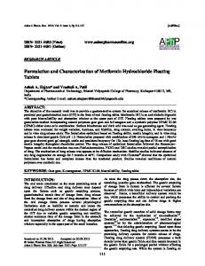 Formulation and Characterization of Metformin ...