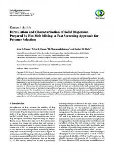 Formulation and Characterization of Solid Dispersion Prepared by Hot ...