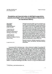 Formulation and characterization of solid lipid