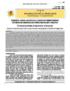formulation and evaluation of mebeverine hydrochloride sustained ...