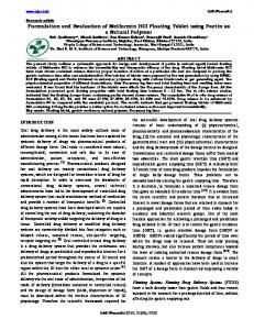 Formulation and Evaluation of Metformin HCl Floating Tablet using ...