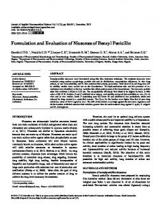 Formulation and Evaluation of Niosomes of Benzyl ...