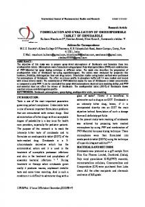 formulation and evaluation of orodispersible tablet of ornidazole