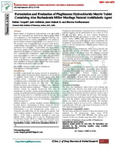 Formulation and Evaluation of Pioglitazone Hydrochloride Matrix ...