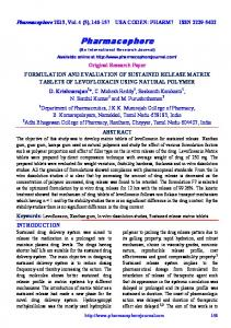 formulation and evaluation of sustained release matrix tablets of ...