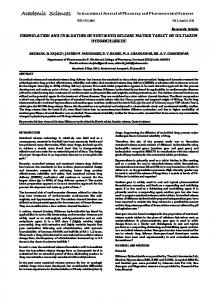 formulation and evaluation of sustained release matrix tablet of ...