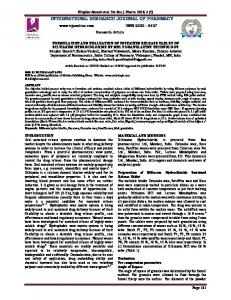 formulation and evaluation of sustained release tablet of diltiazem ...