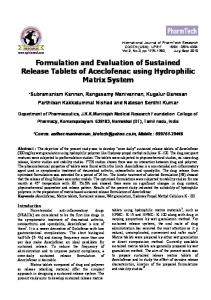 Formulation and Evaluation of Sustained Release Tablet of ...