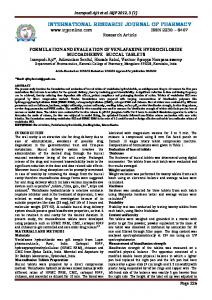 formulation and evaluation of venlafaxine hydrochloride ...