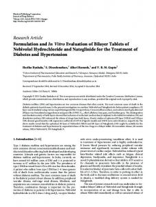 Formulation and In Vitro Evaluation of Bilayer Tablets of Nebivolol ...