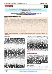 Formulation and In vitro Evaluation of Buccal Mucoadhesive Tablets of ...
