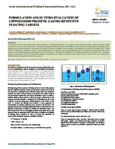 formulation and in vitro evaluation of cefpodoxime
