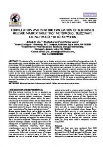 formulation and in vitro evaluation of sustained release matrix ...