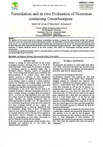 Formulation and in vivo Evaluation of Niosomes