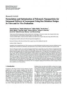 Formulation and Optimization of Polymeric Nanoparticles for ...