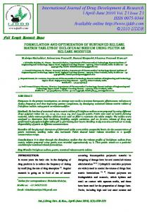 formulation and optimization of sustained release matrix tablets of ...